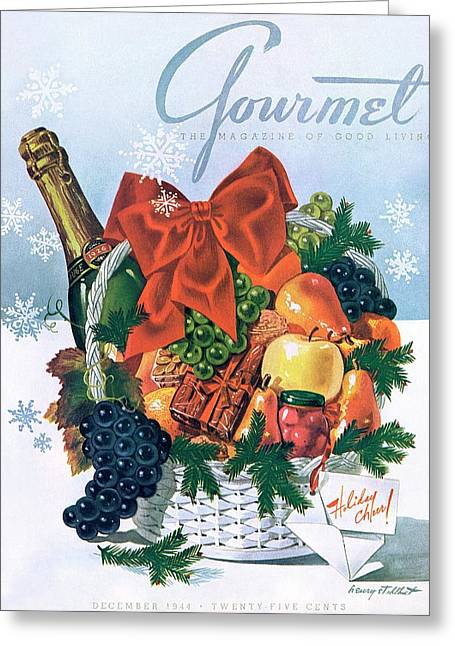 Gourmet Cover Illustration Of Holiday Fruit Basket Greeting Card
