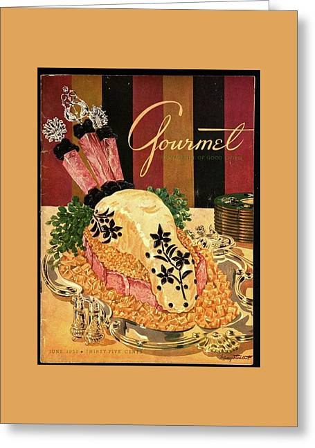Gourmet Cover Illustration Of Langue De Boeuf Greeting Card by Henry Stahlhut