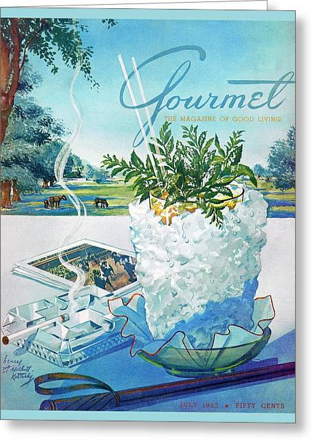 Gourmet Cover Illustration Of Mint Julep Packed Greeting Card by Henry Stahlhut