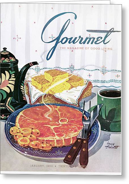 Gourmet Cover Of Ham And Cornbread Greeting Card by Henry Stahlhut