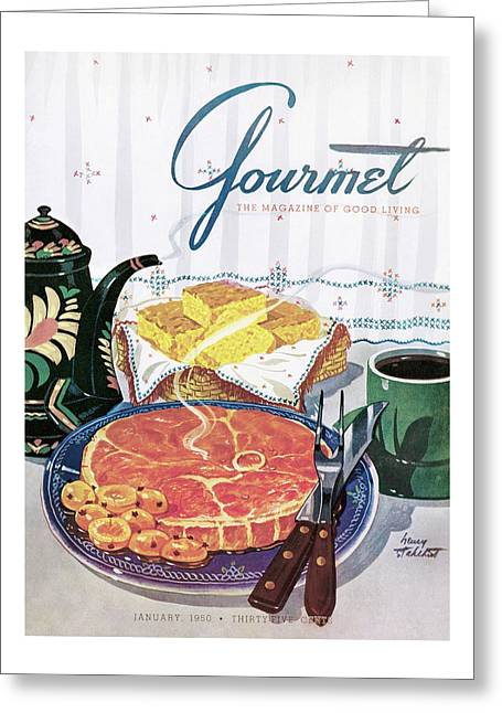 Gourmet Cover Of Ham And Cornbread Greeting Card