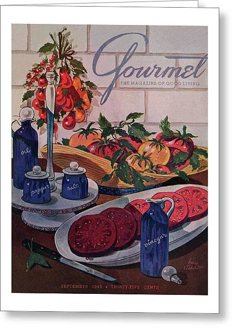Gourmet Cover Of Tomatoes And Seasoning Greeting Card
