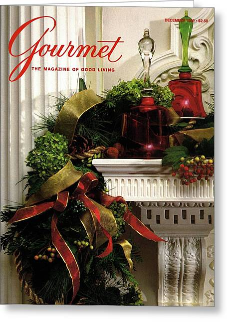 Gourmet Magazine Cover Featuring Christmas Garland Greeting Card