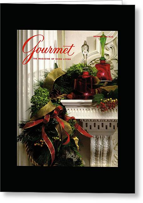 Gourmet Magazine Cover Featuring Christmas Garland Greeting Card by Romulo Yanes