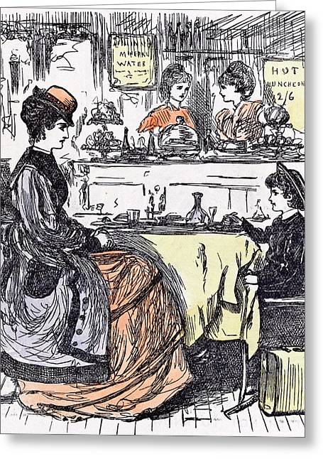 Governess And Boy At The Restaurant 1873 Suitcase Table Greeting Card by English School