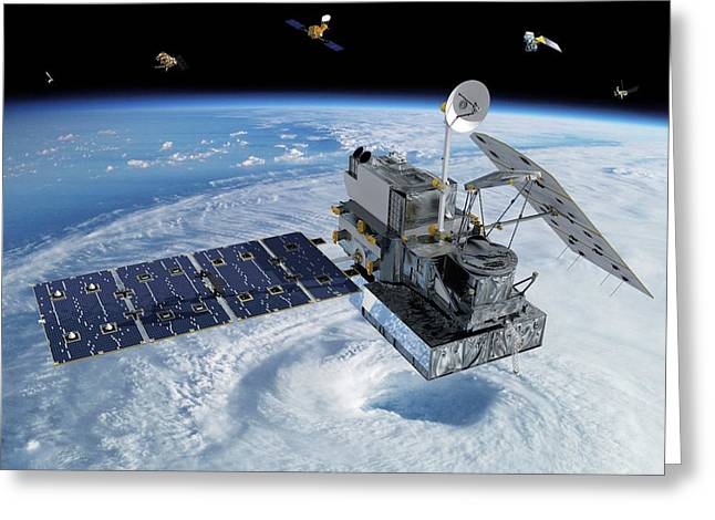 Gpm Rainfall Satellite Greeting Card by Nasa/goddard/britt Griswold