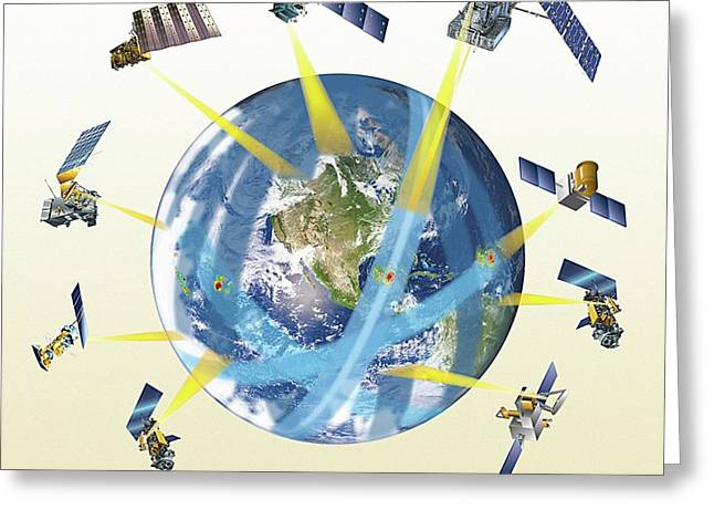 Gpm Satellite Constellation Greeting Card by Nasa/goddard