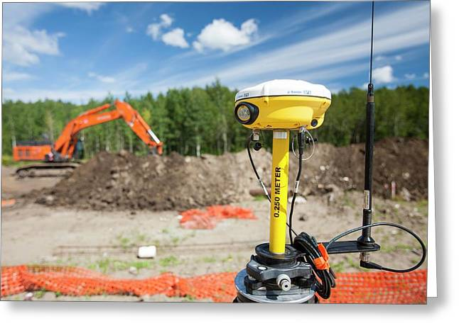 Gps Theodolite New House Building Greeting Card by Ashley Cooper