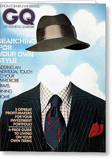 Gq Cover Featuring A Clothes On Top Greeting Card by  Victor Valla & Eric Meola