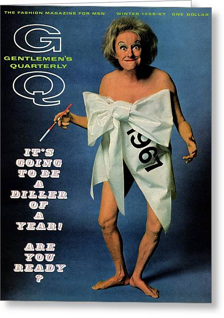 Gq Cover Featuring Comedienne Phyllis Diller Greeting Card by Carl Fischer