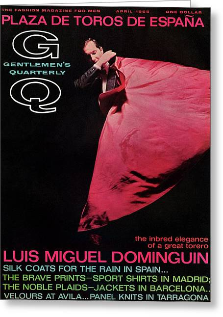 Gq Cover Featuring Miguel Dominguin Greeting Card by Carl Fischer
