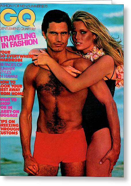 Gq Cover Featuring Patti Hansen And A Male Model Greeting Card by Barry McKinley