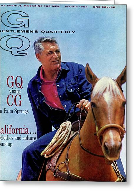 Gq Cover Of Actor Carey Grant Horseback Riding Greeting Card by Hal Adams