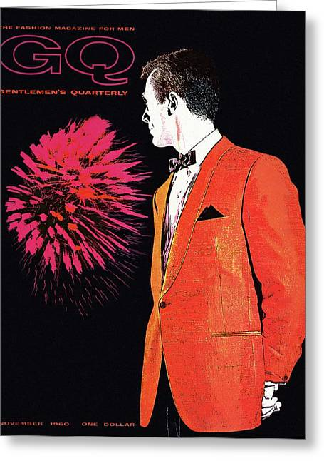 Gq Cover Of An Illustration Of A Man Wearing An Greeting Card by Leon Kuzmanoff