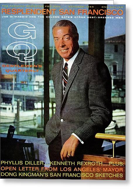 Gq Cover Of Baseball Player Joe Dimaggio Greeting Card by Leonard Nones