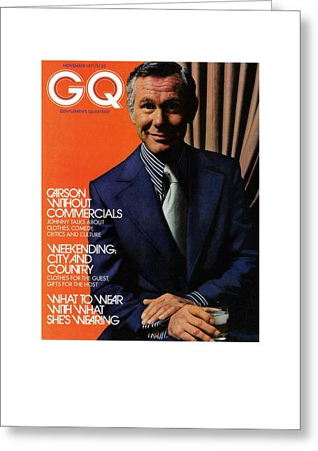 Gq Cover Of Johnny Carson Wearing Suit Greeting Card by Bruce Bacon