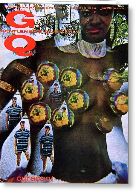 Gq Cover Of Polynesian Dancer Inset With Male Greeting Card by Carl Fischer