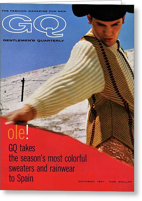 Gq Cover Of Spanish Matador Greeting Card by Chadwick Hall