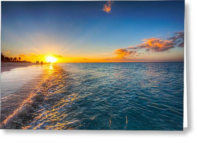Grace Bay Beach Sunset Greeting Card by Jo Ann Snover