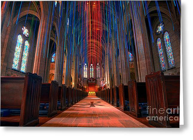 Grace Cathedral San Francisco Greeting Card by Peter Dang