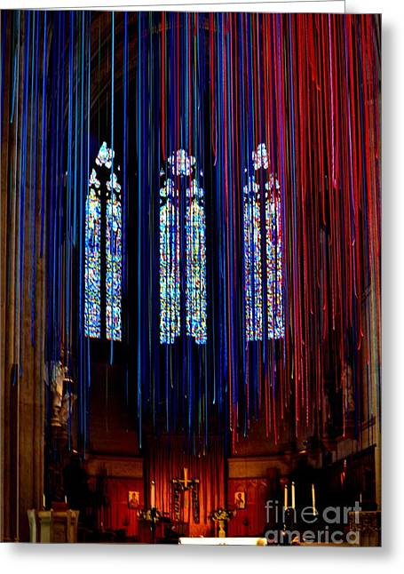 Grace Cathedral With Ribbons Greeting Card by Dean Ferreira
