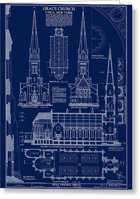 Grace Church Blueprint Greeting Card by Daniel Hagerman