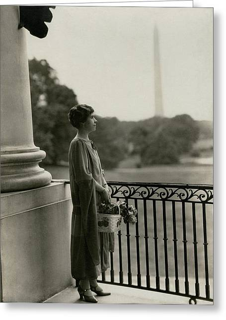 Grace Coolidge By The Washington Monument Greeting Card by Nickolas Muray