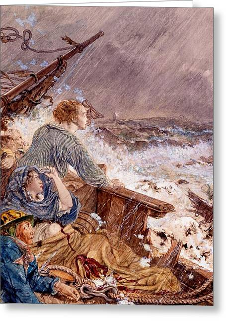 Grace Darling And Her Father Saving Greeting Card by William Bell Scott