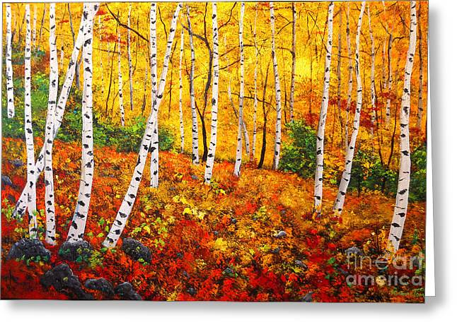 Graceful Birch Trees Greeting Card by Connie Tom