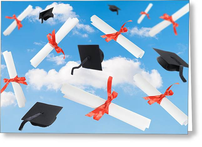 Graduation Caps And Scrolls Greeting Card by Amanda Elwell