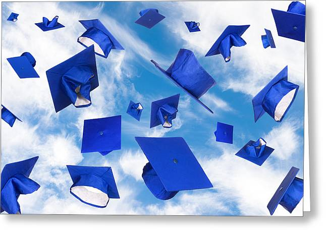 Graduation Caps In Flight Greeting Card
