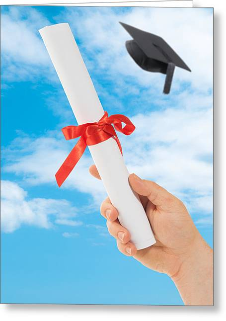 Graduation Scoll And Cap Greeting Card by Amanda Elwell