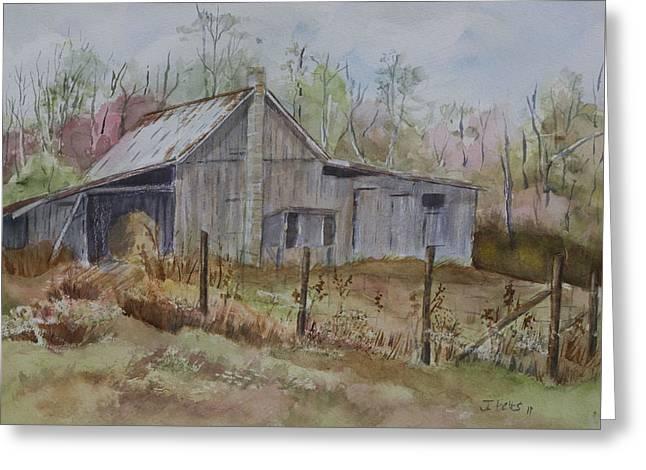 Grady's Barn Greeting Card by Janet Felts