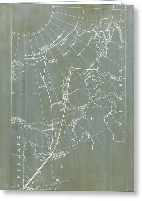 Graf Zeppelin Polar Flight Chart Greeting Card by Us Coast Guard