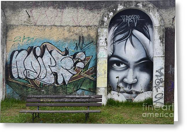 Graffiti Art Curitiba Brazil 1 Greeting Card by Bob Christopher