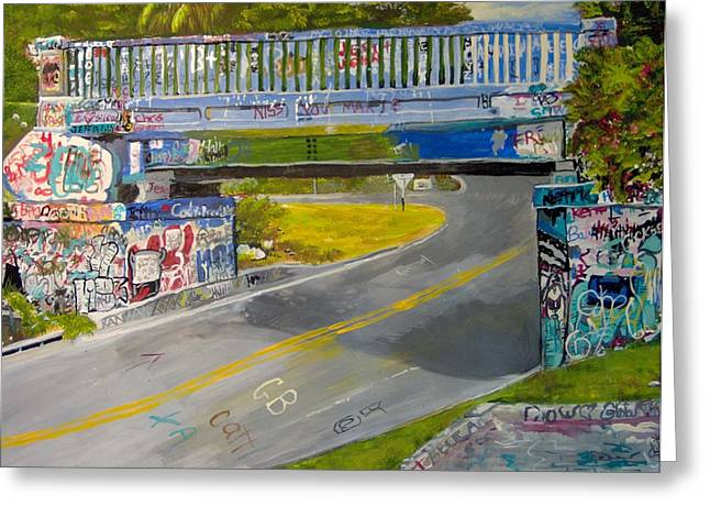 Graffiti Bridge Pensacola Greeting Card by Linda Stoughton