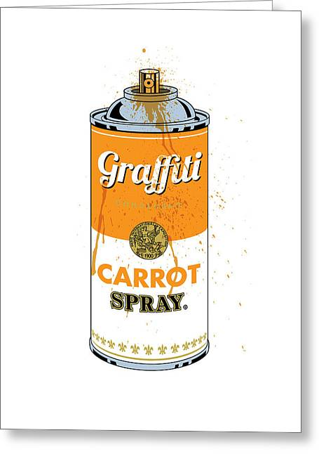 Graffiti Carrot Spray Can Greeting Card by Gary Grayson