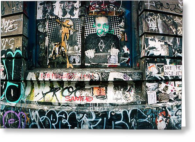 Graffiti Covered Germania Bank Building Greeting Card by Panoramic Images