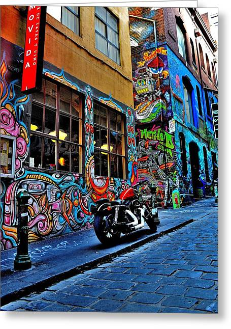 Graffiti Harley Shoes - Melbourne - Australia Greeting Card