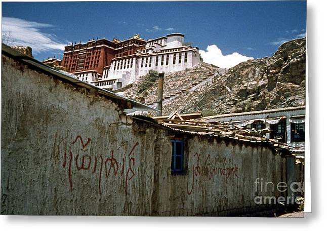 Graffiti In Lhasa Greeting Card by Scott Shaw