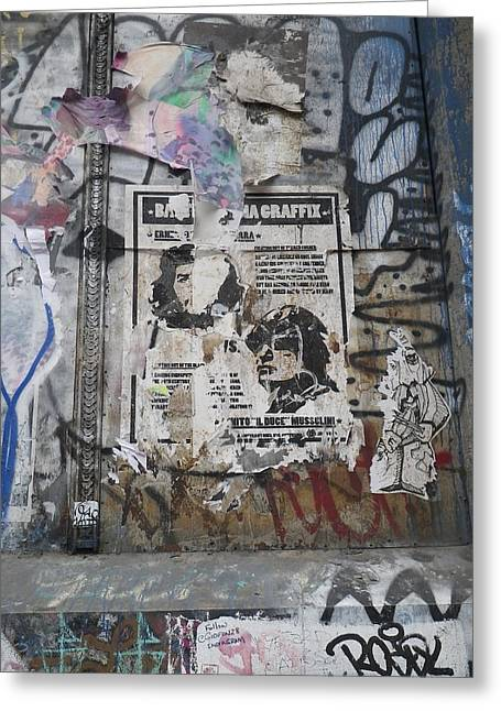 Graffiti In New York City Che Guevara Mussolini  Greeting Card