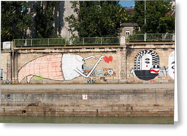 Graffiti On A Wall At The Riverside Greeting Card by Panoramic Images