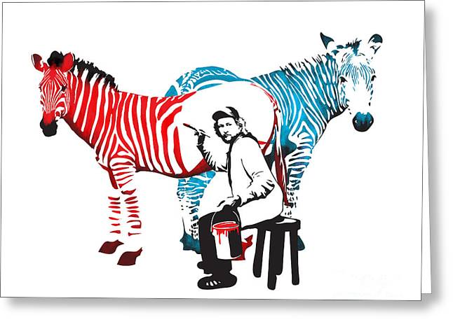 Graffiti Print Of Rembrandt Painting Stripes Zebra Painter Greeting Card by Sassan Filsoof
