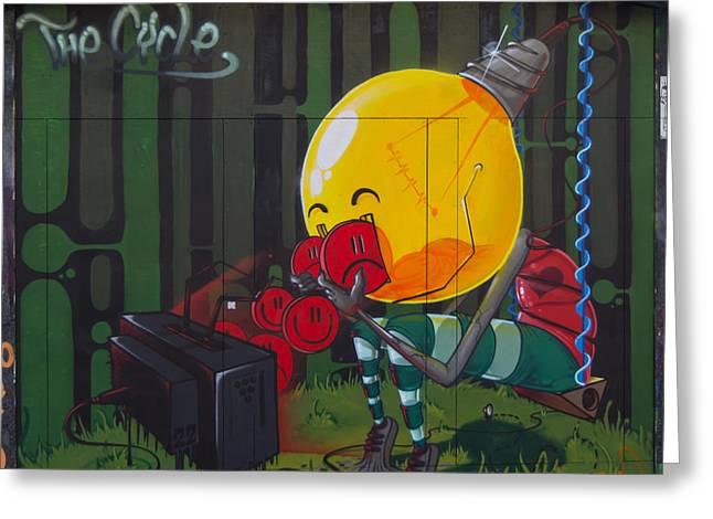 Graffiti Stokes Croft Greeting Card by Brian Roscorla