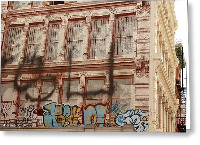 Greeting Card featuring the photograph Graffiti Writing Nyc by Ann Murphy