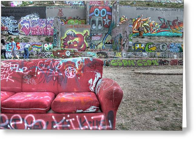 Grafitti Couch Greeting Card by Jane Linders