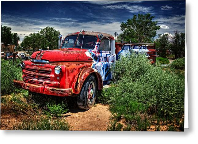 Greeting Card featuring the photograph Grafitti Fire Truck by Ken Smith