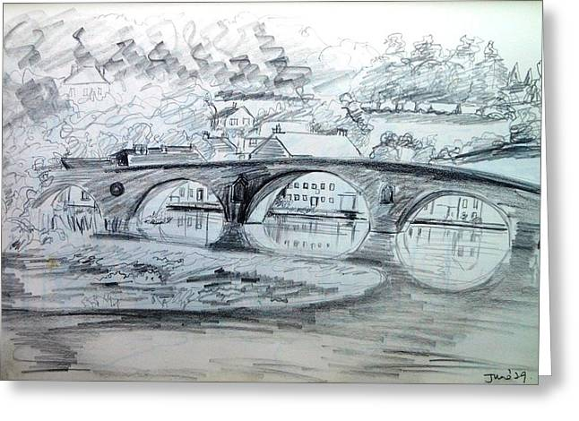 Graignamanagh Bridge River Barrow  Kilkenny Ireland  Greeting Card by Trudi Doyle