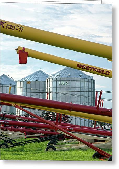 Grain Augers And Silos Greeting Card by Jim West