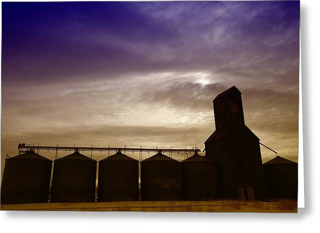 Grain Bins In Reserve Montana Greeting Card by Jeff Swan